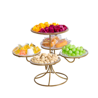 Wrought iron fruit plate creative multi layer home living room dried fruit candy dish dessert table display stand rack mx6261546