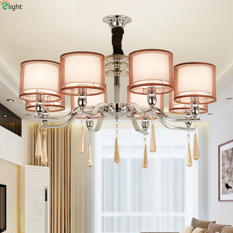 Modern Chrome Metal Led Chandeliers Lighting Crystal Dining Room Led Pendant Chandelier Light Living Room Hanging Lights Fixture led crystal chandeliers lamp round ring hanging lights modern led crystal chandelier fixture for living room lobby ac110v 240v
