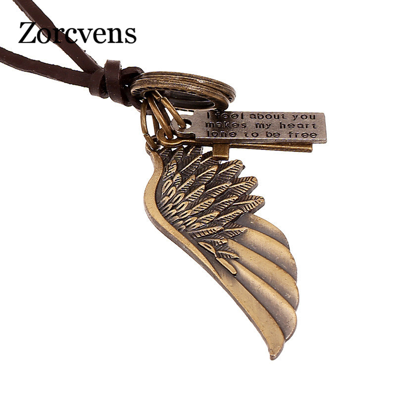 European And American Popular Vintage Angel Wing Mens Leather Necklace Women Charms Necklaces & Pendants
