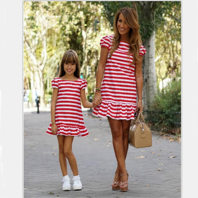 Mother daughter summer dress 2018 mother and daughter matching clothes  striped Lotus hem mommy and me family look dress 039538b56b4b