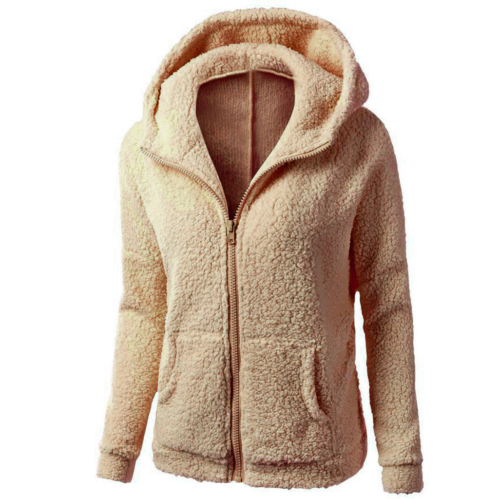 HTB1guVyX2vsK1RjSspdq6AZepXa8 Women Solid Color Coat Thicken Soft Fleece Winter Autumn Warm Jacket Hooded Zipper Overcoat Female Fashion Casual Outwear Coat