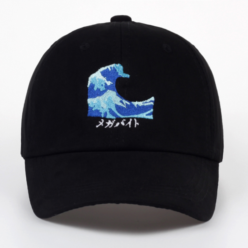 Thouch Mi Store VORON New Fashion Harajuku Black Couple Wave Embroidery Snapback Baseball Cap Casual Curved Eaves Hat Breathable Sunscreen Hats