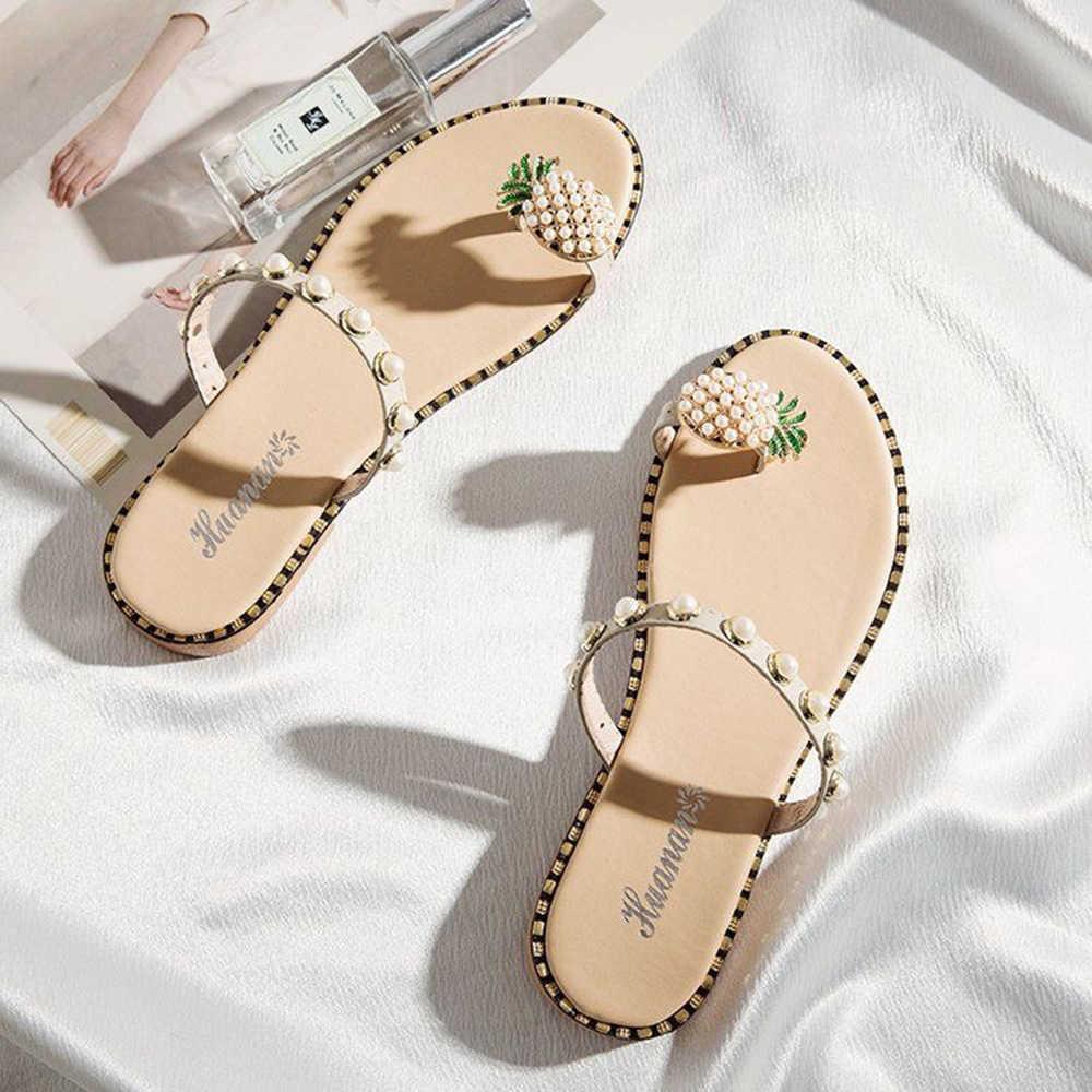 New Women Sandals Leather Pearl Spilt Toe slip on Flip Flops Sandals silk Pineapple summer Beach Slides Casual Shoes