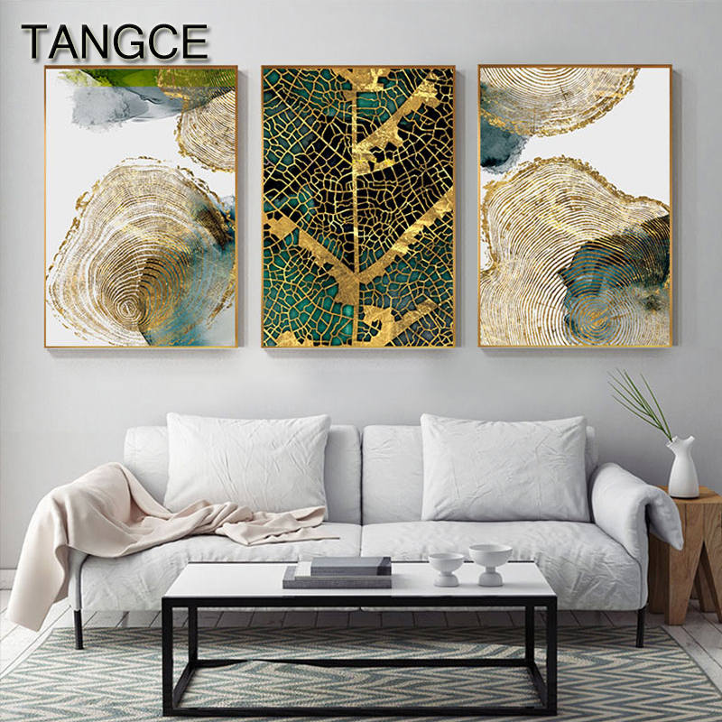 Abstract Golden Leaf Vein Painting Tableaux Big Poster Print HD Wall Art For Living Room Entrance Aisle Cuadros Salon Decoracion