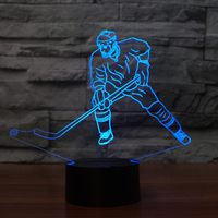 LED Ice Hockey Man In Action Modelling NightLight USB 3D Table Lamp Bedroom Luminaria Decor Bedside Sleep Light Fixture Kid Gift