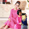2016 New Long Nightgowns mother daughter Summer Modal Long Nightdress Loose Noble Girl Night Dresses