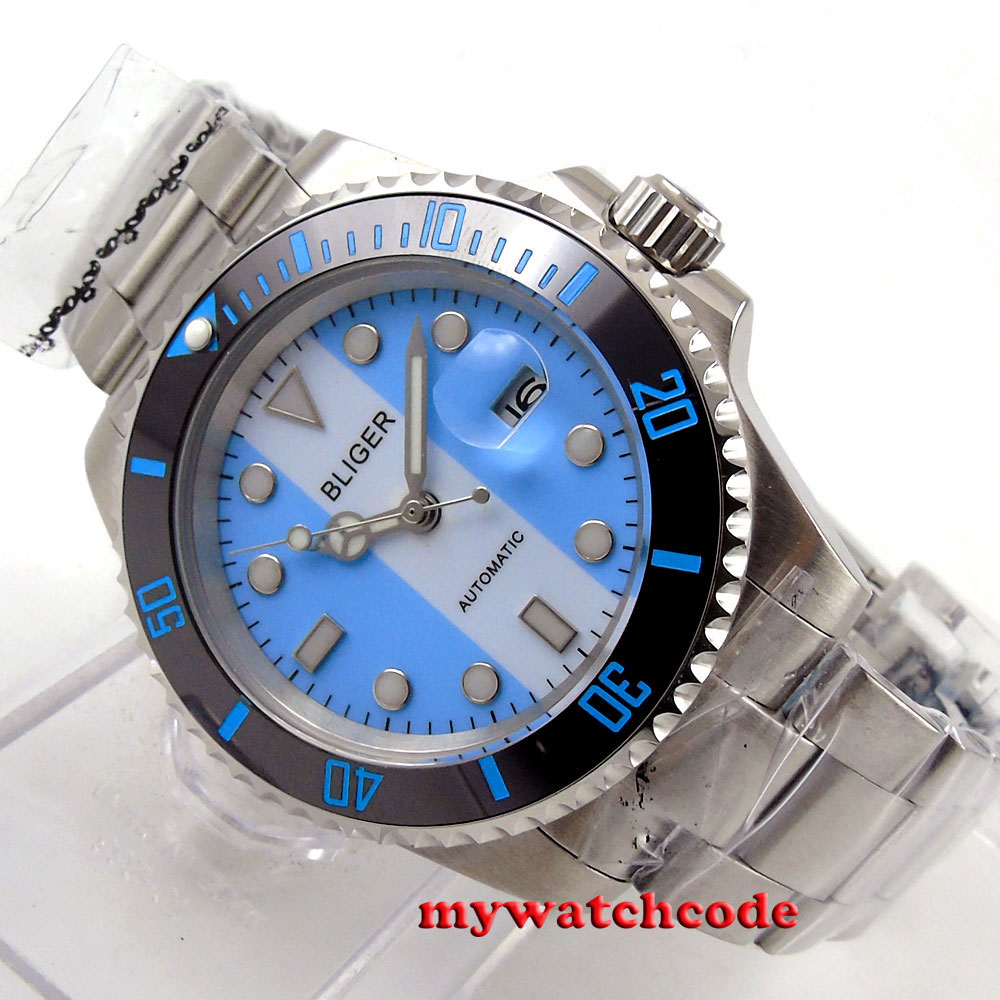 40mm Bliger blue white dial date sapphire glass automatic unsex womens watch 118 цена и фото