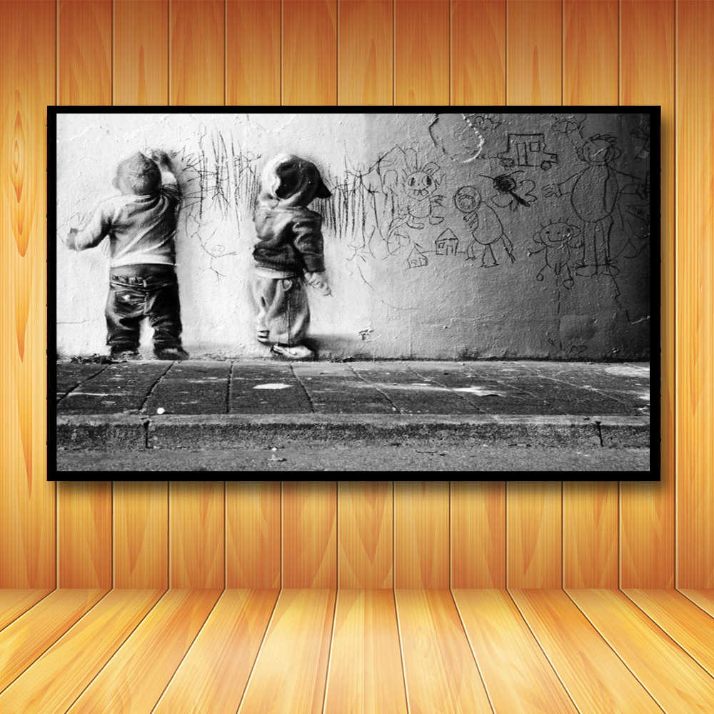 Nursery Kids Boys Scrawl Wall Art Sparring Canvas Printing Banksy Graffiti For Wall Decor Abstract Poster and Print