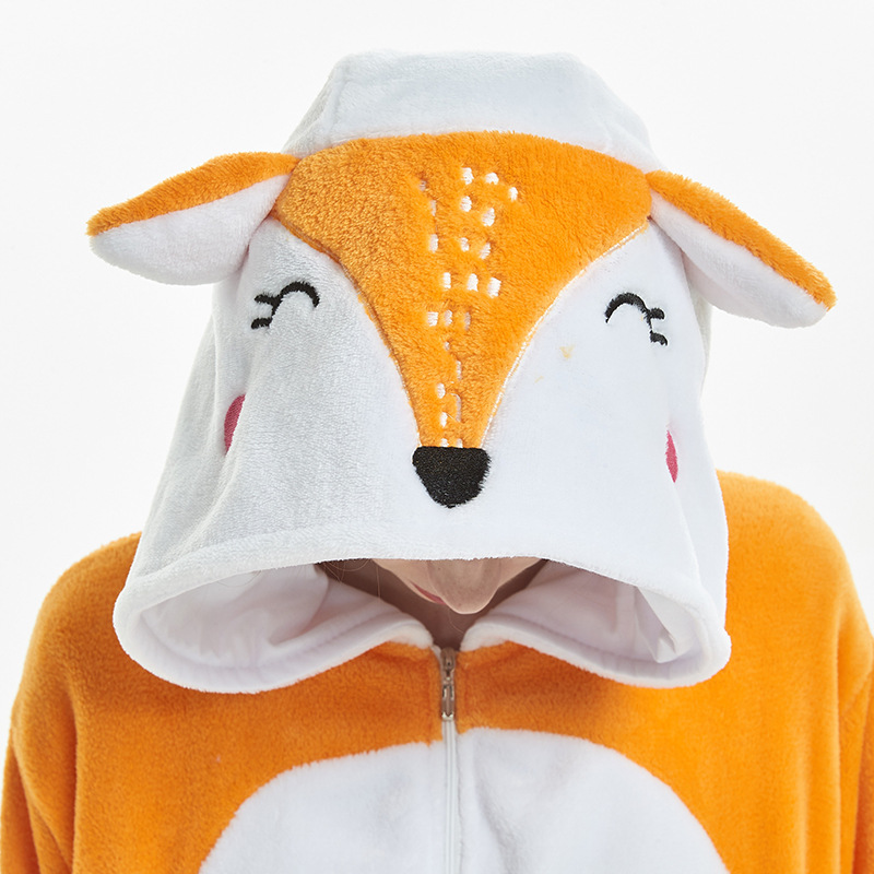 Amusing Orange Fox Animal Kigurumi Flannel Onesie Soft Women Pajamas Party Bodysuit Cosplay Unisex Sleepwear Halloween Pyjamas (8)