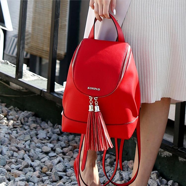 Women Backpack Leather Tassel Shoulder Bag Large Capacity Backbag Female Zipper School Bag Girl Travel Bag Mochila