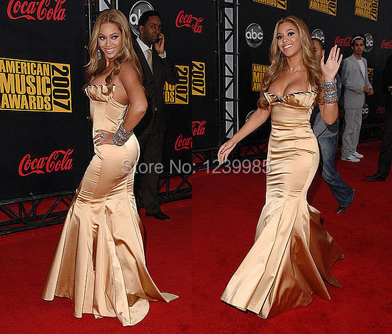 Beyonce On Sale Sexy Strapless Long Mermaid Evening Dress Off Shoulder Backless Long Celebrity Dresses Party Gown