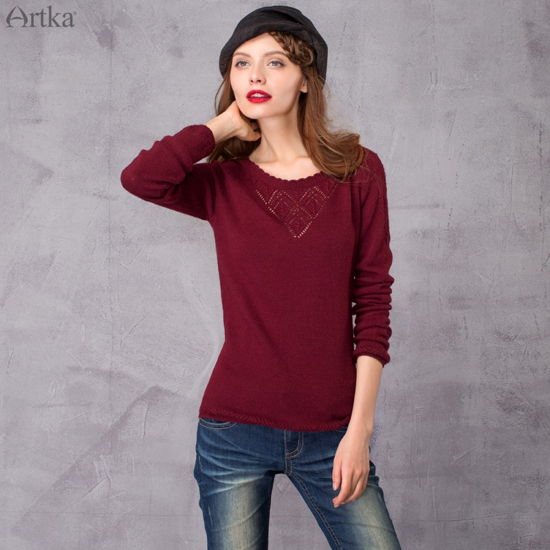 ARTKA 2018 Aurumn&Winter Vintage All-Match Hollow Out Elegant Casual Knitwear Pullover Sweater YB13063Q