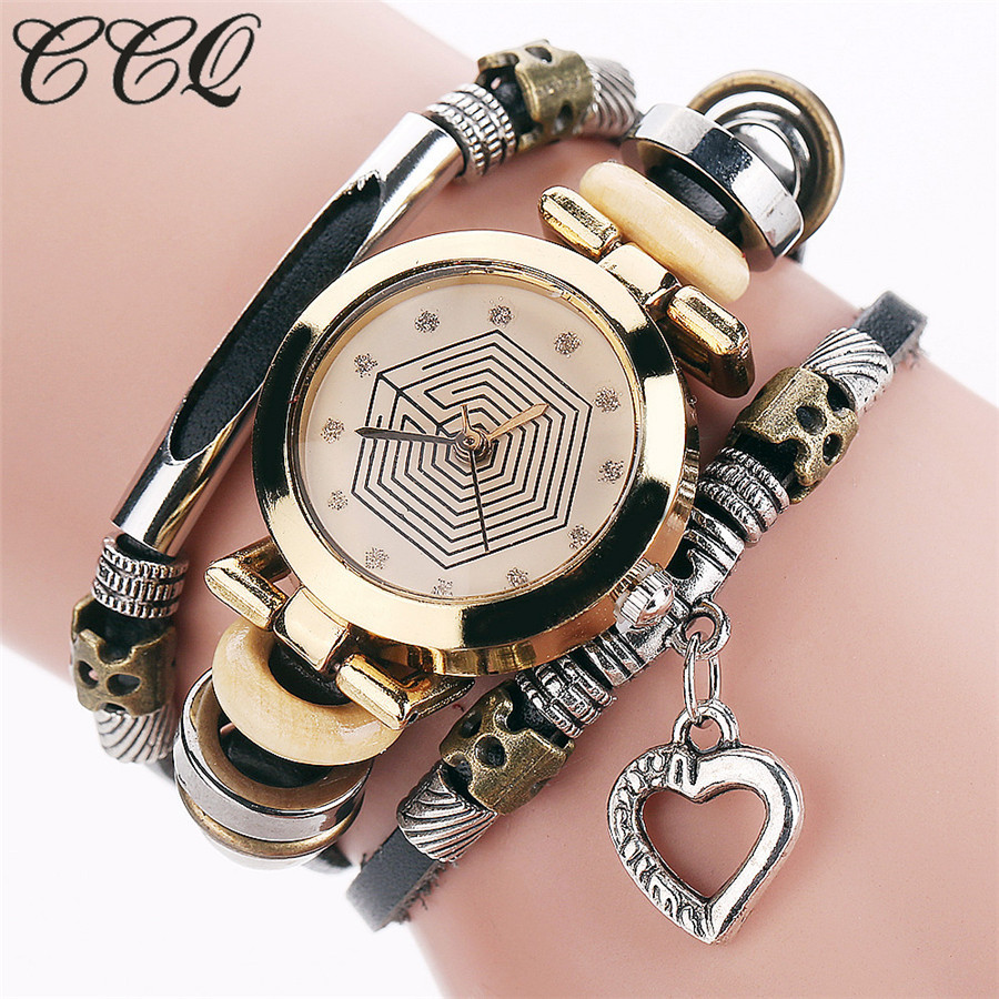 CCQ Fashion Vintage Cow leather Bracelet Watches Casual Women Crystal Love Heart Pendant Quartz Watch Relogio Feminino 2064 love heart hollow out bracelet watch