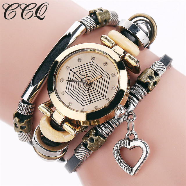 CCQ Fashion Vintage Cow leather Bracelet Watches Casual Women Crystal Love Heart