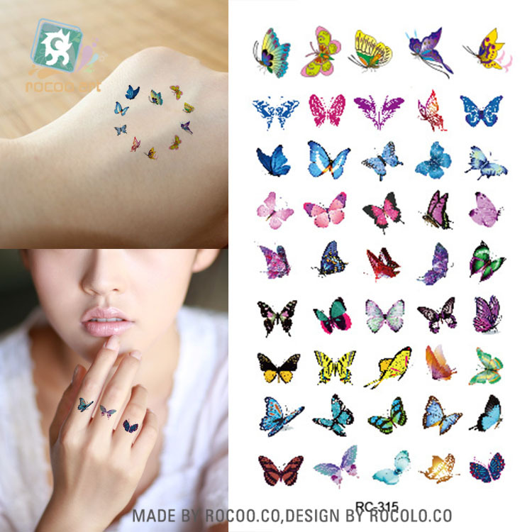 Body Art Waterproof Temporary Tattoos For Women 3d Beautiful Butterfly Design Small Arm Tattoo Sticker Wholesales RC2315