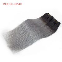 2 Bundles T 1B Grey Peruvian Straight Hair Extensions Ombre Color Remy Human Hair Weave Bundles 10 18 inch MOGUL HAIR