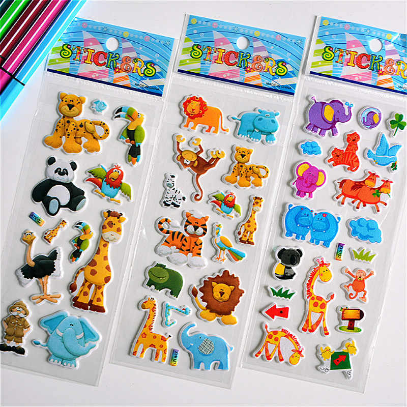3D Puffy Bubble Stickers Animal Cartoon Princess Cat Waterpoof DIY Baby Toys for Children Kids Boy Girl