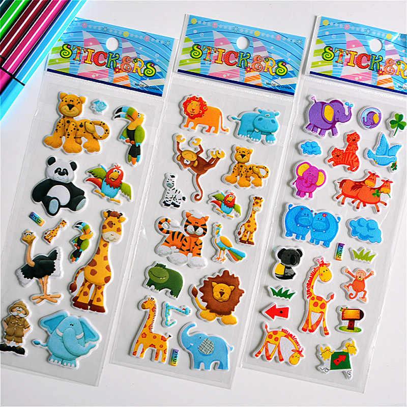 Pegatinas de burbujas hinchadas 3D animales dibujos animados princesa gato Waterpoof juguetes de bebé DIY para niños niño niña
