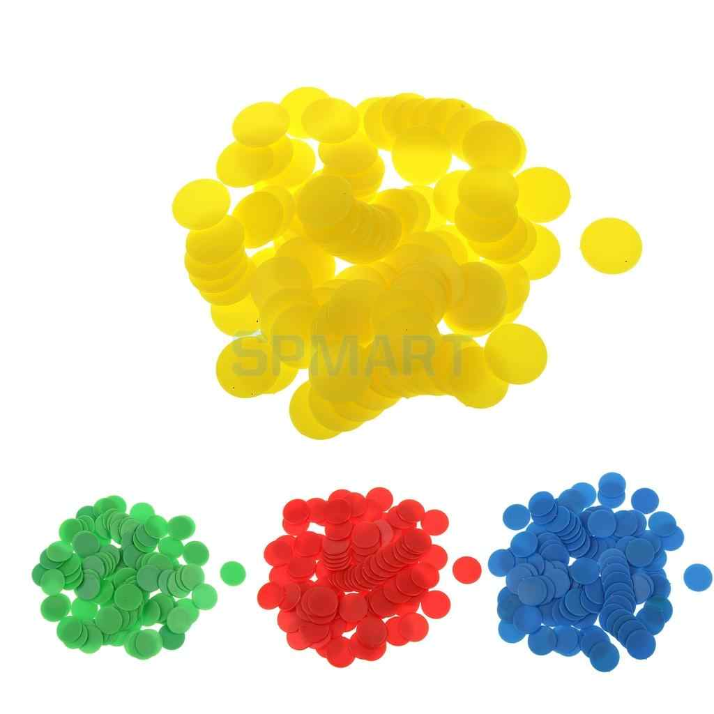 971ecbe86d MagiDeal 100Pcs/Pack 18mm Opaque Plastic Board Game Counters Tiddly Winks  Numeracy Teaching Aid Math