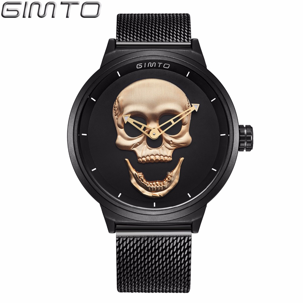 GIMTO Simple Black Skull Watch Men Luxury Sport Mens Watches Stainless Steel Casual Quartz Wristwatches Clock Relogio Masculino mce top brand mens watches automatic men watch luxury stainless steel wristwatches male clock montre with box 335