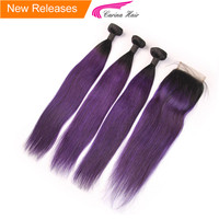Peruvian Straight 1b Ombre Purple Hair Bundles With Closure Dark Purple Hair Extensions Pack Carina Remy Human Hair Products