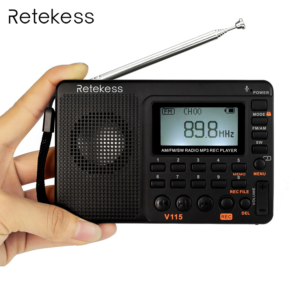 Retekess V115 FM/AM/SW Radio Receiver Bass Sound MP3 Player REC Recorder Portable Radio with Sleep Timer