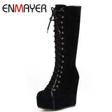 ENMAYER High Heels Round Toe Shoes Woman Mid-calf Boots for Women Cross-tied Zippers Winter Boots Plus Size 34-40 Black Pink недорого