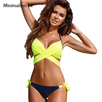Minimalism Le Push Up Bikini Set 2017 Cross Patchwork Women Swimwear Swimsuit Sexy Halter Top Maillot