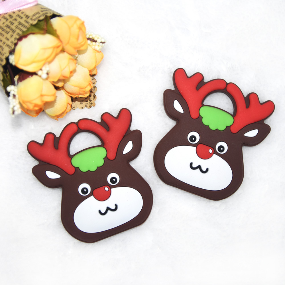 Happyfriends 1pcs Christmas Deer Teether Cartoon Food Grade Baby Silicone Teething Toys For Mother DIY Baby Pacifier Chain in Baby Teethers from Mother Kids