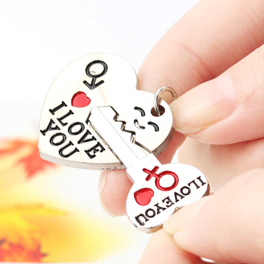 1 Set New Couple I Love You Letter Keychain Heart Key Ring Silvery Lovers Love Key Chain Souvenirs Valentine Day Gift