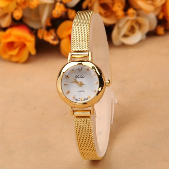 New ladies fashion watches women watch girls royal gold small dial bracelet quartz stainless for Watches for girls