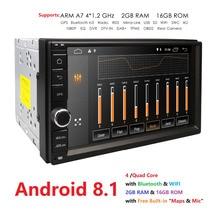 2 din android 8.1 2din nouveau autoradio universel Double lecteur de voiture Navigation GPS dans tableau de bord voiture PC stéréo vidéo 2G RAM DVR SWC BT 4G