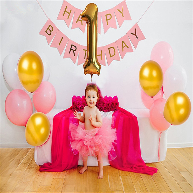 Baby 1st Birthday Happy Background Decorations Latex Balloons Foil Digital Letter Flag