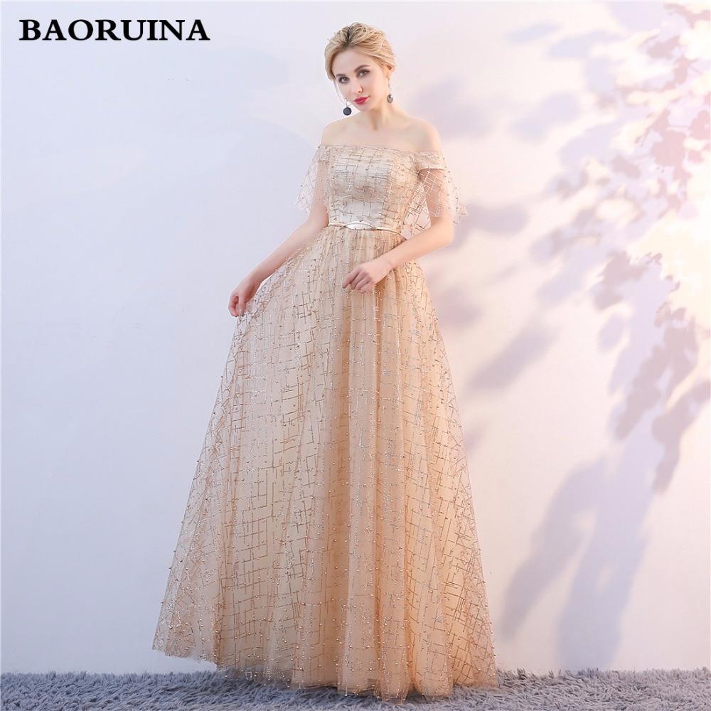 Golden Evening Dresses 2018 Nya Plus Size Tulle Ansökningar Långa - Särskilda tillfällen klänningar - Foto 1