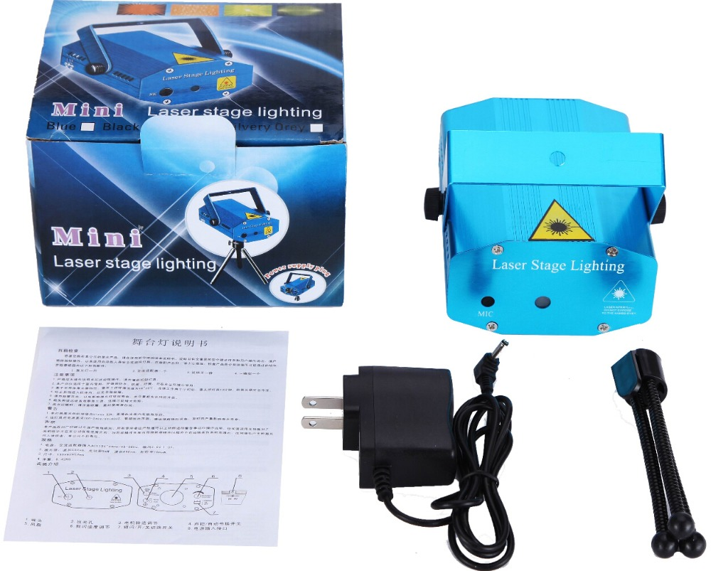 Blue Case 150mW RG Mini Laser Projector Stage Laser Light Party Min Laser Light For Xmas