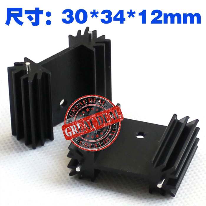 Free Ship 100PCS Aluminum Heatsink To220 Heatsink 30*34*12MM Transistor Heatsink Radiator Black Cooling