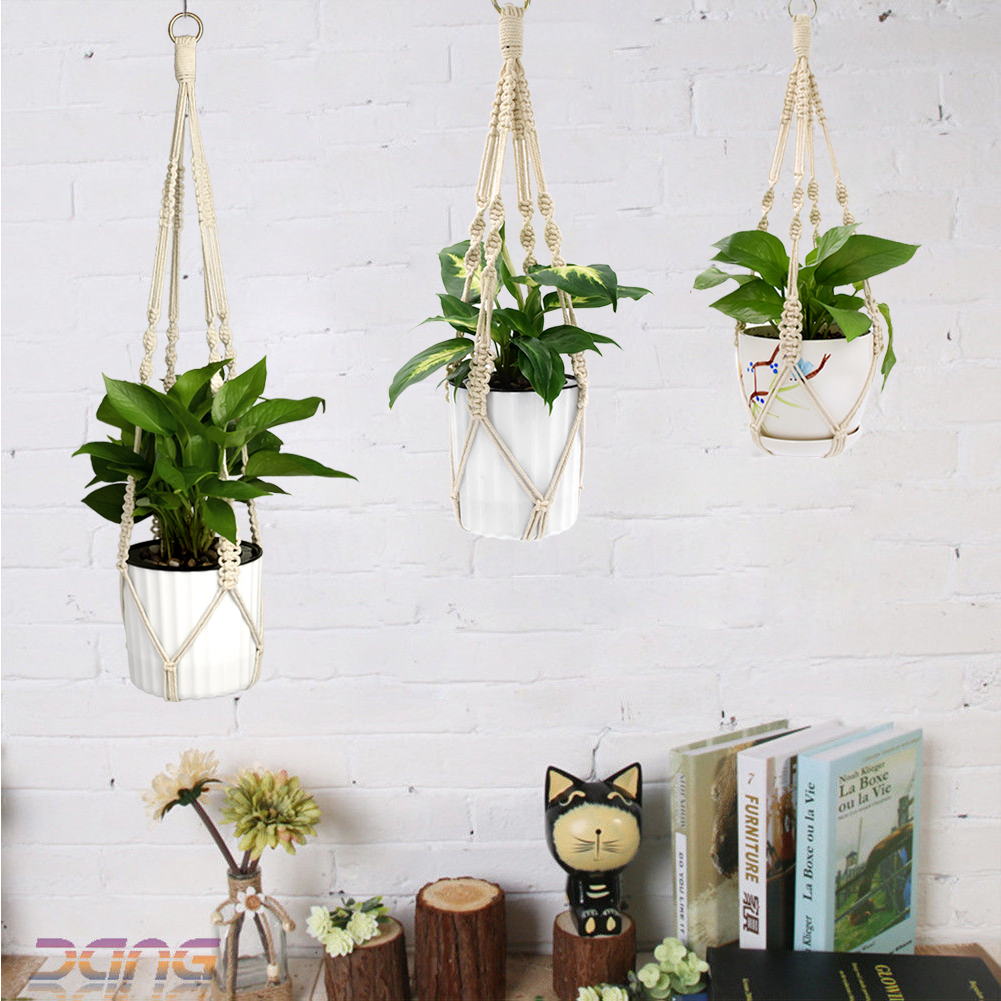 Image 1 - Cheap! 2Pcs Decorative Plants Macrame Flowerpot Plant Hanger Basket Balcony Wall hook for hanging Rope Plant Hanger Pot Holder-in Hanging Baskets from Home & Garden