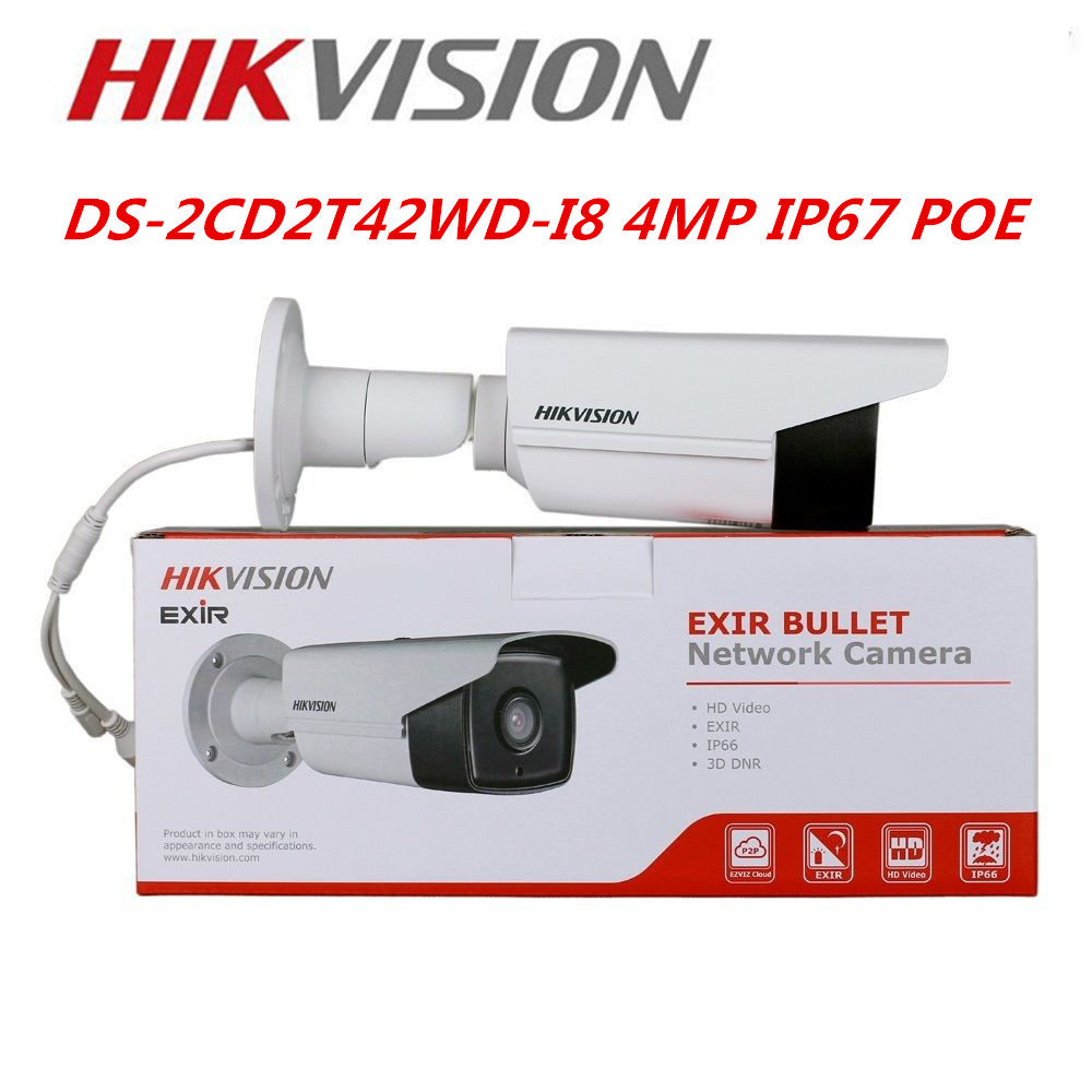 DHL EMS Freeshipping Hikvision IP Camera IR 80m DS-2CD2T42WD-I8  4MP POE Replace DS-2CD3T45-I8  Hikvision Camera bosch isio