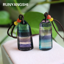 Natural crystal stone Colorful fluorite Pendant Charm Jewelry Healing Chakra Personalized Necklace Gem Quartz for gift