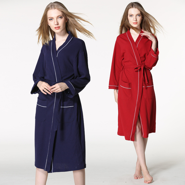 1ab8f50c02 Hotel bathrobe autumn and winter cotton pajamas Ms. big yards long section  of absorbent waffle