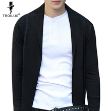Troilus Brand Spring Autumn Men's Sweater Turn-Down Collar Color Block Splicing Long Sleeve Lengthen Men's Cardigan Clothing