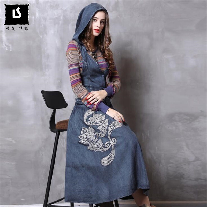 Original Design vestidos Fashion dress Women Holiday embroidery Denim Dress elegant Women Sleeveless hood Long Dresses