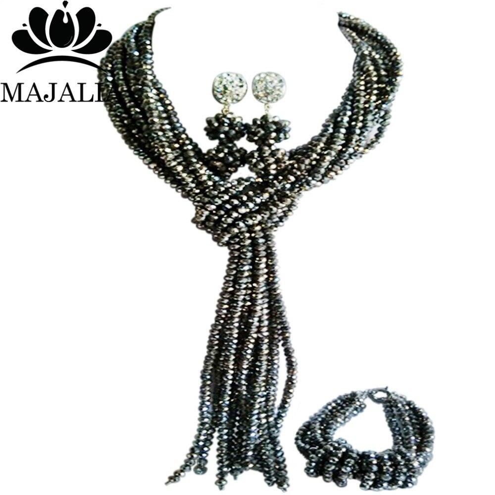 Majalia classique nigérian mariage bijoux africains ensemble argent cristal collier mariée bijoux ensemble livraison gratuite 8JU04