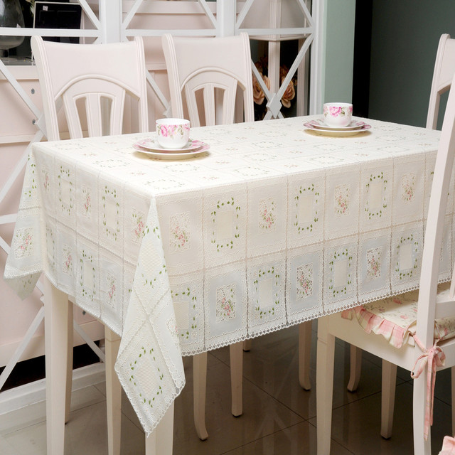 Disposable Plastic PVC Tablecloth Table Towel Pastoral JK8012 Lace  Tablecloths Cutting Stamping Proof Waterproof