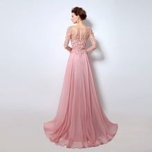 Beading Long Sleeves Evening Dresses Pink Chiffon Abendkleider 2018 Illusion Neckline Party Designs Prom Gowns OL051