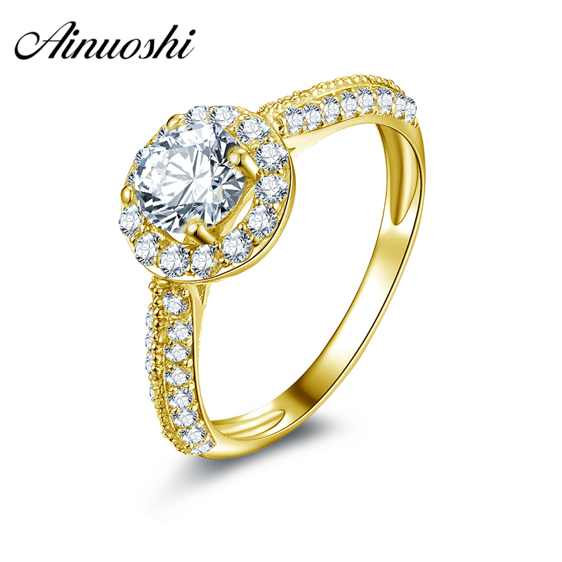 AINUOSHI 10k Solid Yellow Gold Women Wedding Rings Lover Promise Anillos Fine Jewelry Young Lady Round Cut Halo Wedding Rings цена
