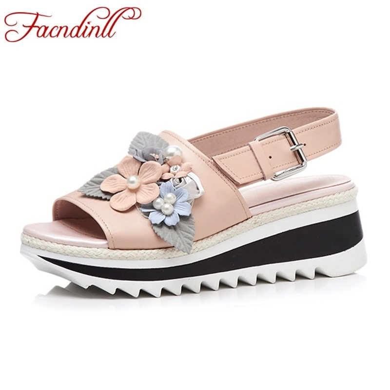 FACNDINLL fashion summer genuine leather women sandals wedges high heels open toe shoes woman flower casual date dress sandals facndinll new women summer sandals 2018 ladies summer wedges high heel fashion casual leather sandals platform date party shoes