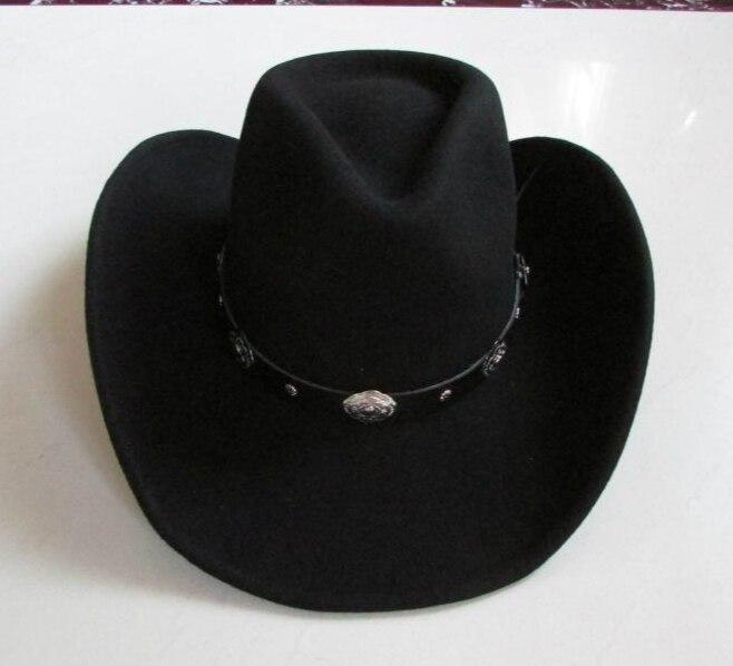 Image 2 - New 100% Woolen Cap Mens Waterproof Wrinkle free Equestrian Hat Adult Wide Brim Cowboy Hat Large brimmed Gentleman Cap B 8133Mens Fedoras   -