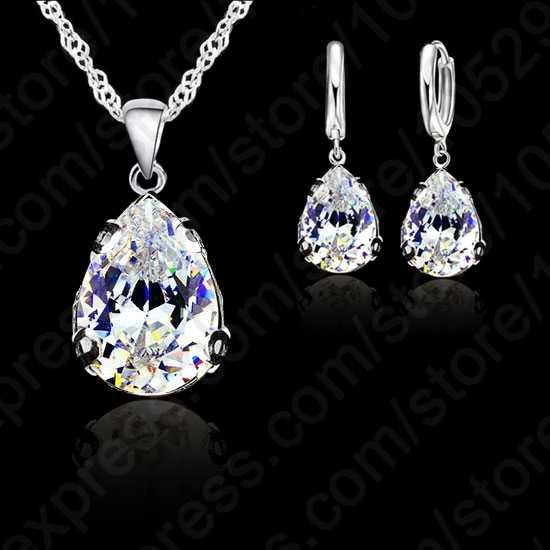 Genuine 925 Sterling Silver Austria Crystal Water Drop Pendant Necklace Earring Jewelry Set for Women Wedding Engagement