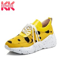 KemeKiss Women Real Leather Chunky Sneakers Outdoor Horse Hair Black Dot Thick Bottom Fitness Hiking Shoes Women Size 35 39